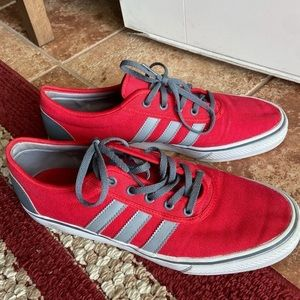 Men's red and grey adidas shoes